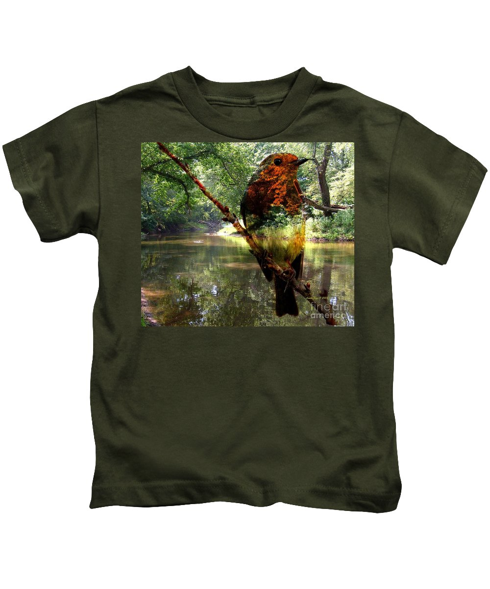 Annie Zeno Kids T-Shirt featuring the photograph Robin By The River by AZ Creative Visions