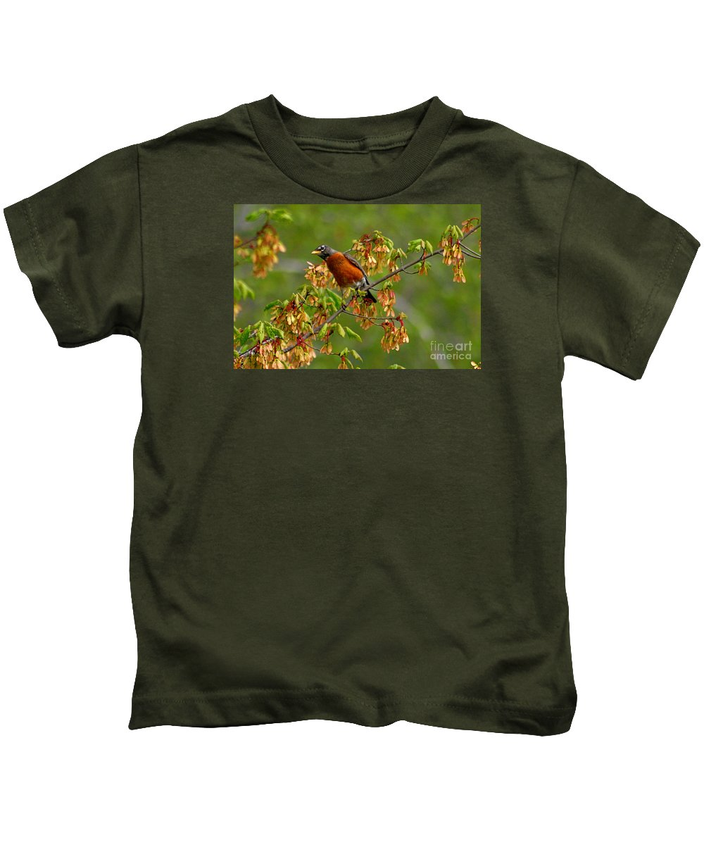 Birds Kids T-Shirt featuring the photograph Robin by Marle Nopardi