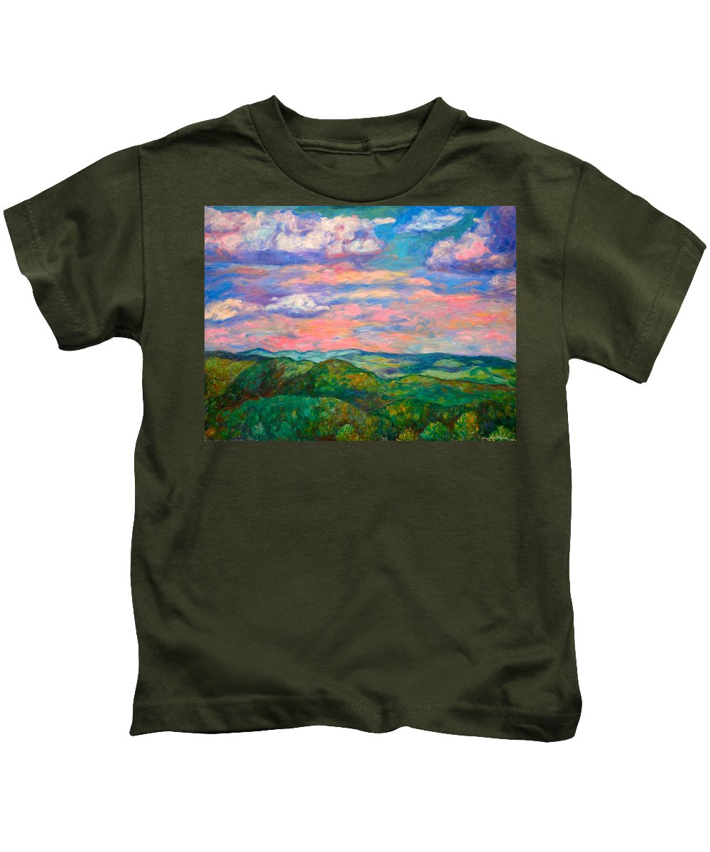 Landscape Paintings Kids T-Shirt featuring the painting Rock Castle Gorge by Kendall Kessler