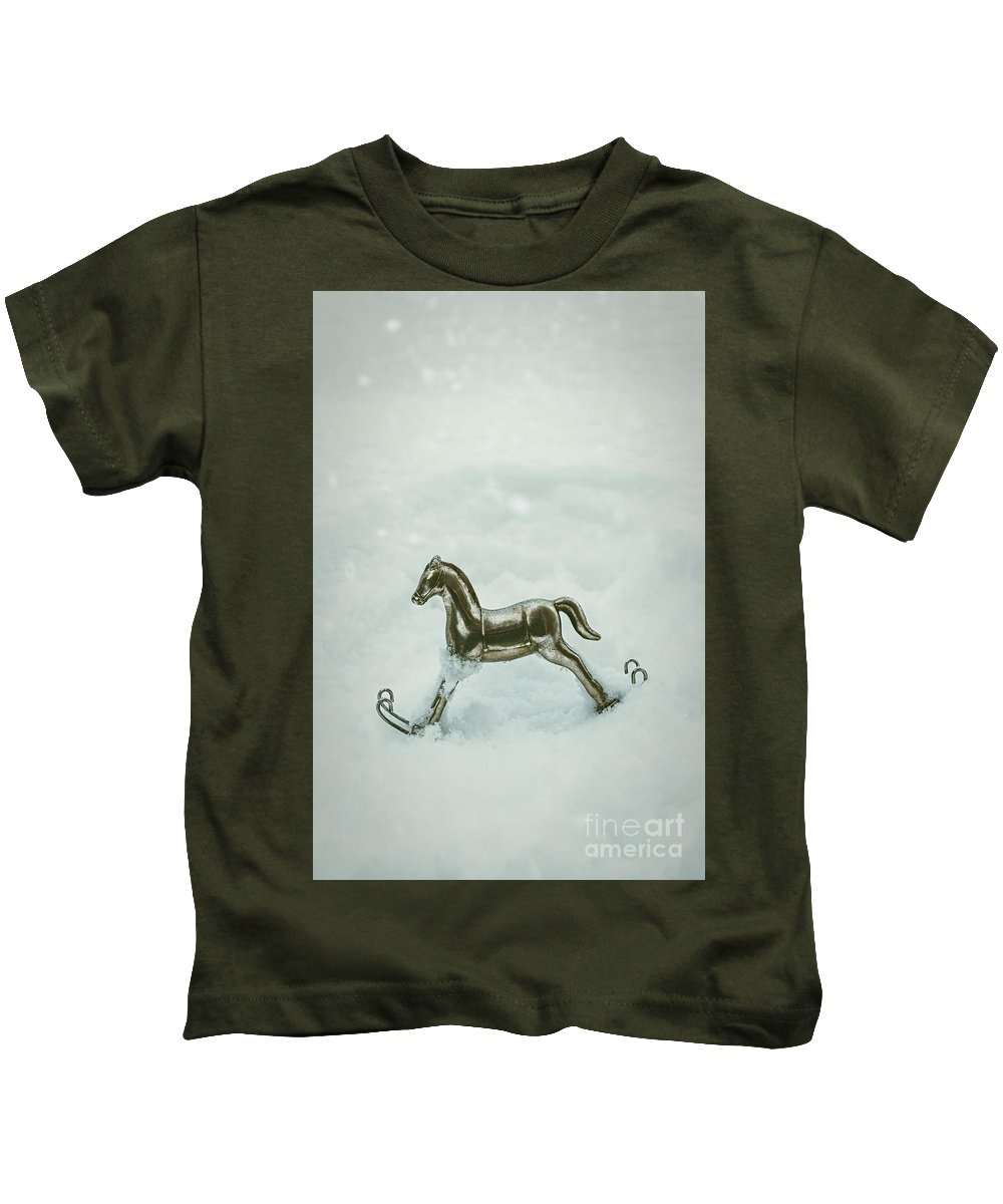 Rocking Kids T-Shirt featuring the photograph Rocking Horse In Snow by Amanda Elwell