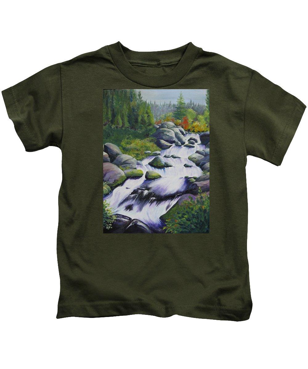Waterfall Kids T-Shirt featuring the painting Rocky Creek by Karen Stark