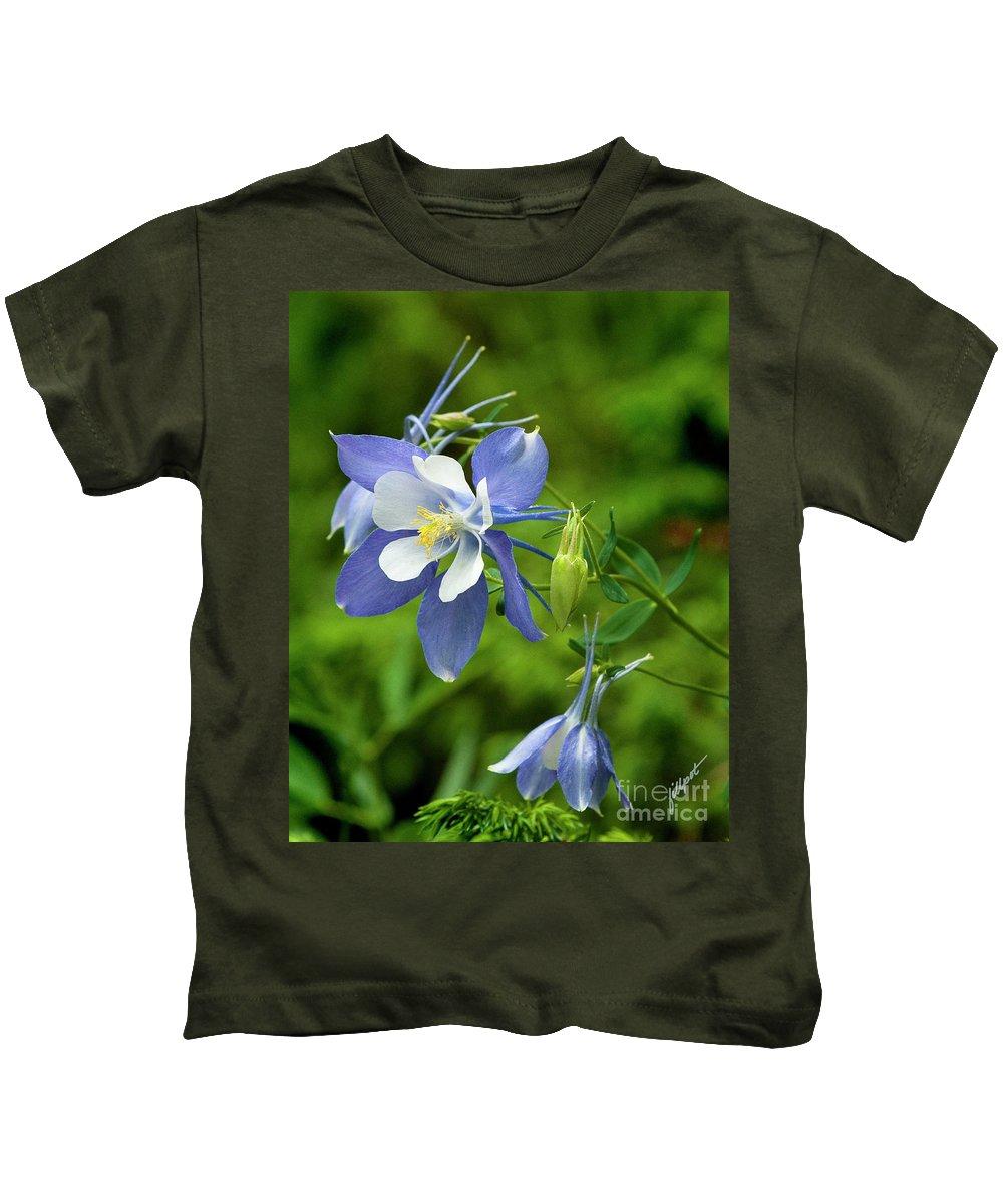 Blue Columbine Kids T-Shirt featuring the photograph Rocky Mountain Blue Columbine by Jim Fillpot