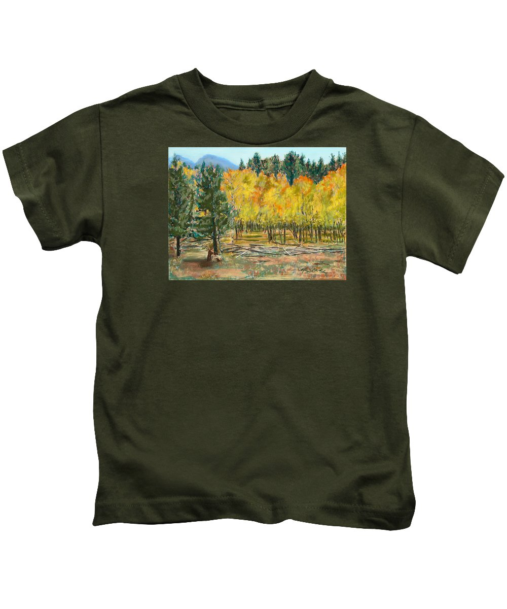 Elk Kids T-Shirt featuring the painting Rocky Mountain Siesta by Mary Benke