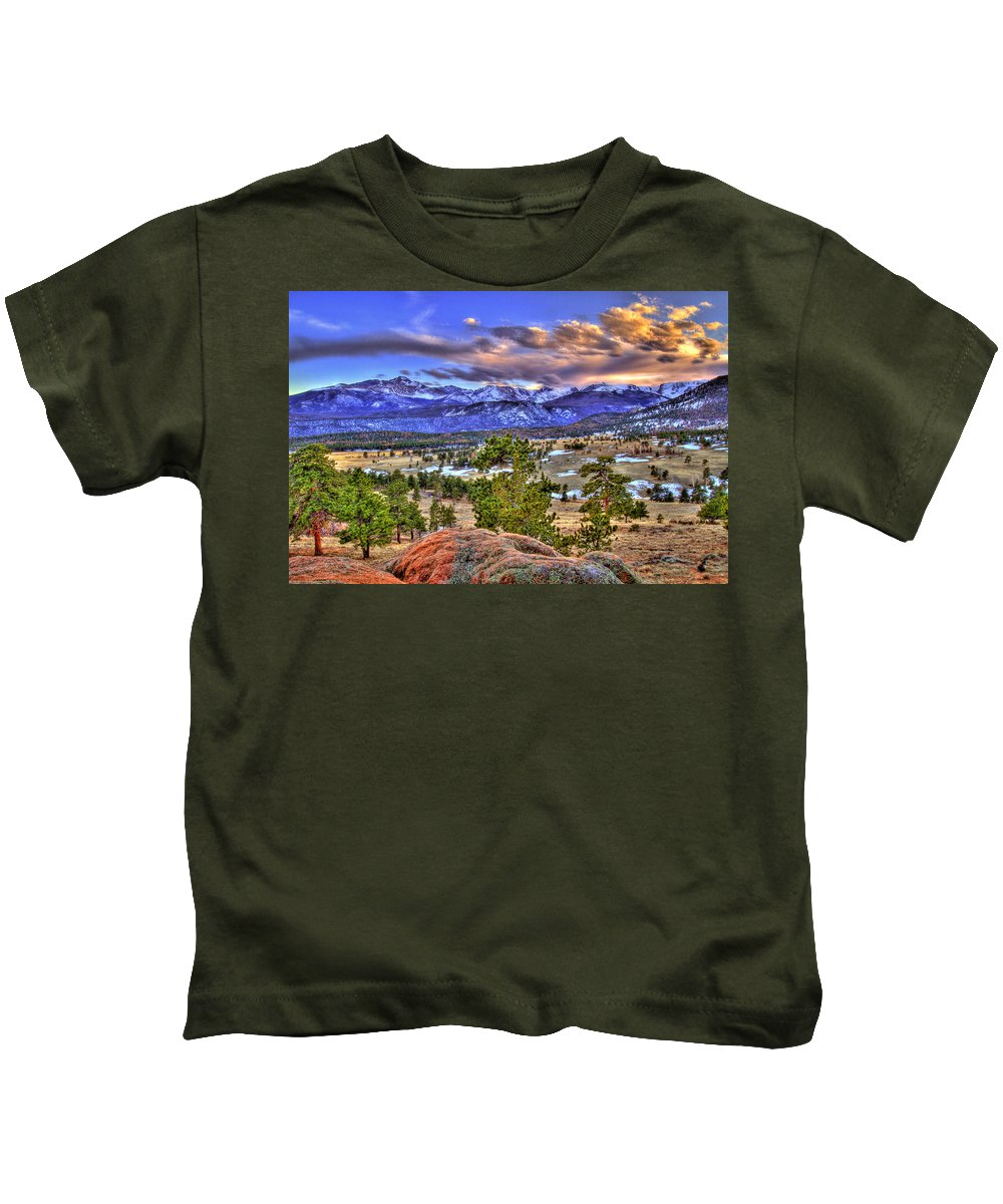 Colorado Kids T-Shirt featuring the photograph Rocky Mountain Sunset by Scott Mahon