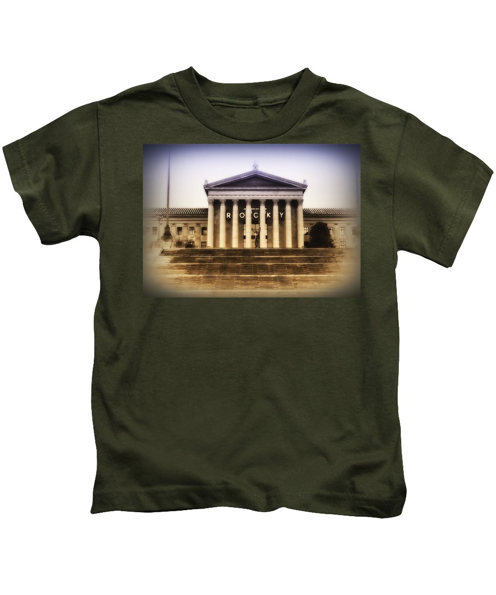 Rocky Balboa Kids T-Shirt featuring the photograph Rocky On The Art Museum Steps by Bill Cannon