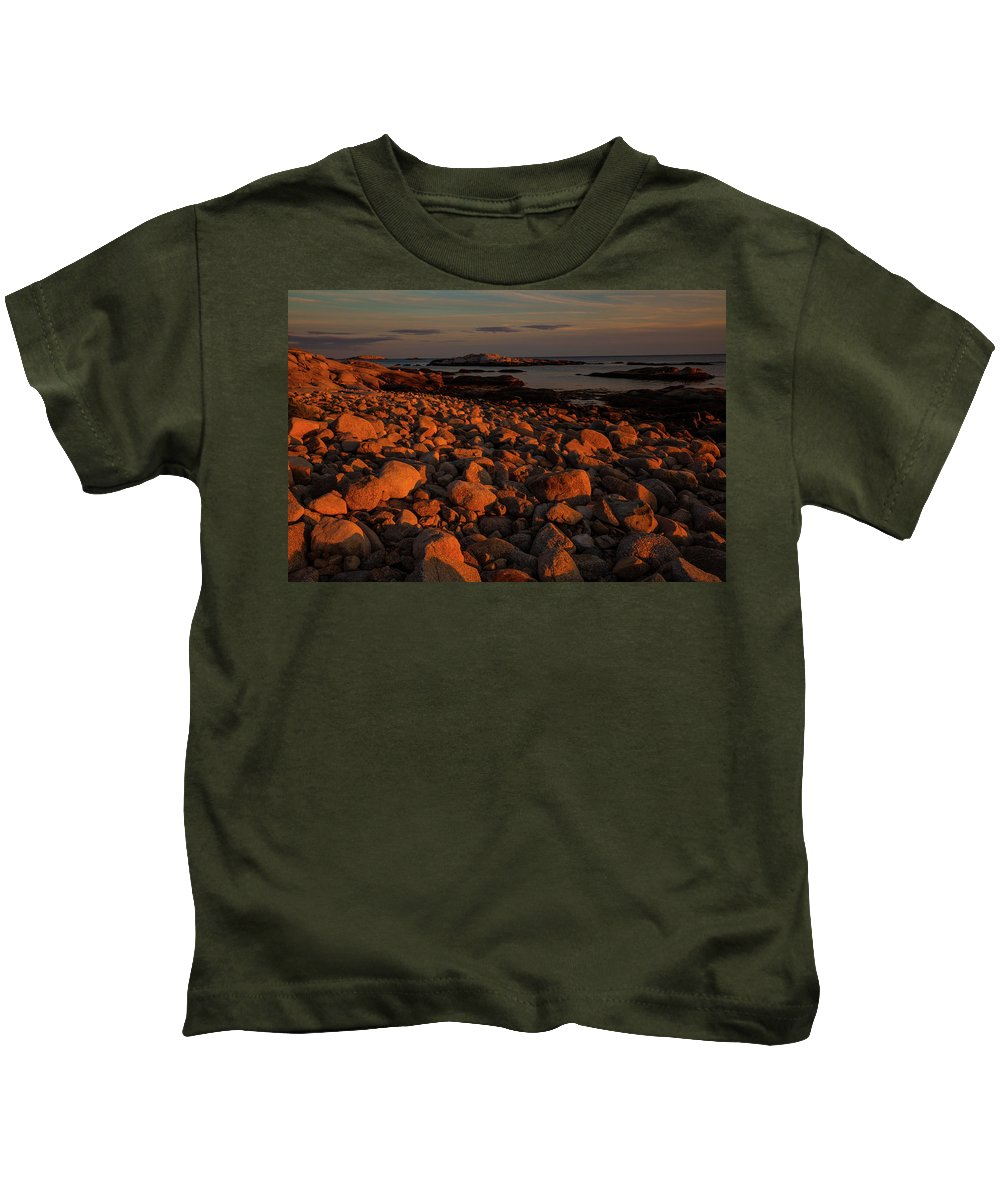 Coastline Kids T-Shirt featuring the photograph Rocky Shoreline And Islands At Sunset by Irwin Barrett