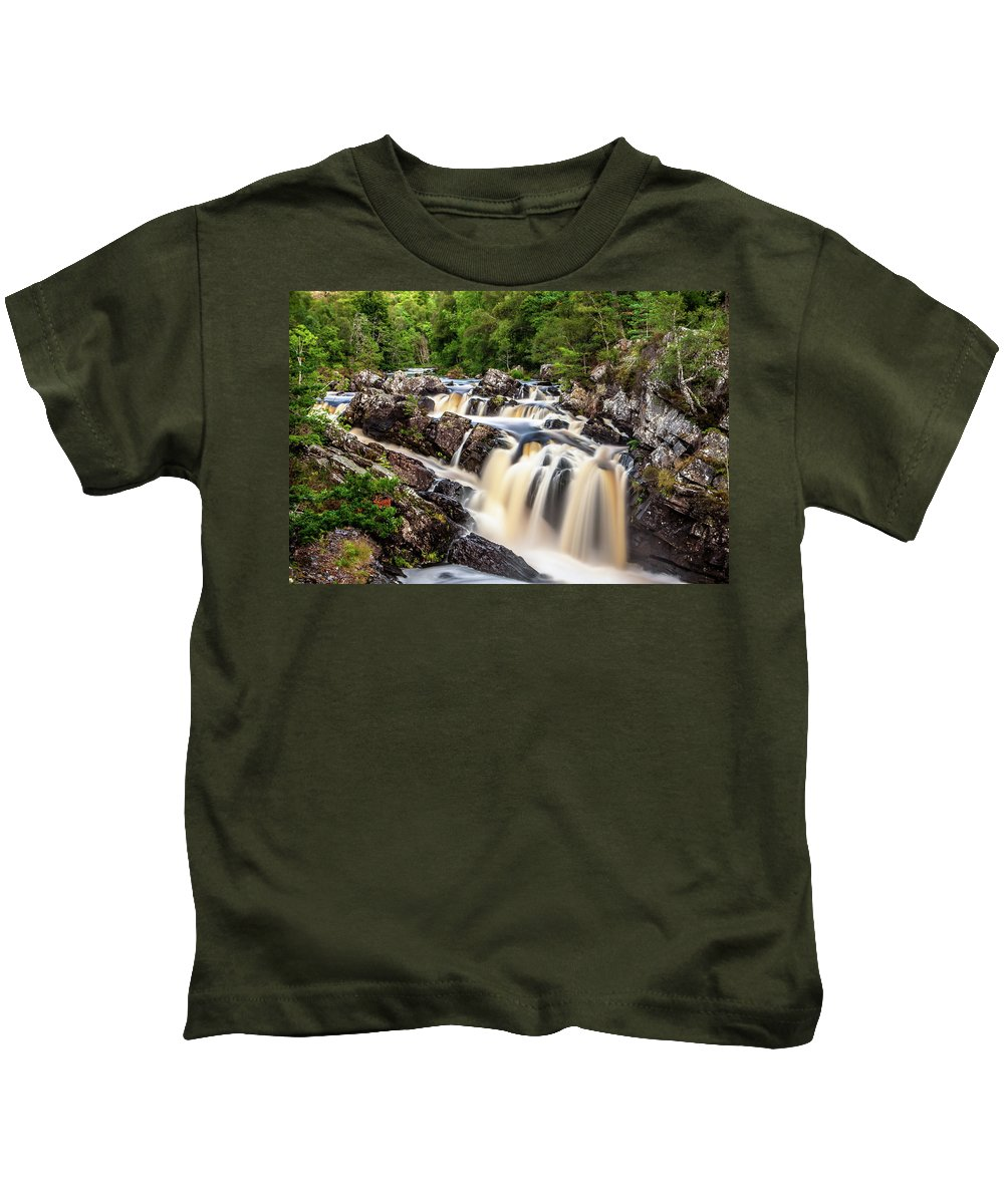 Blackwater River Kids T-Shirt featuring the photograph Rogie Falls by John Frid