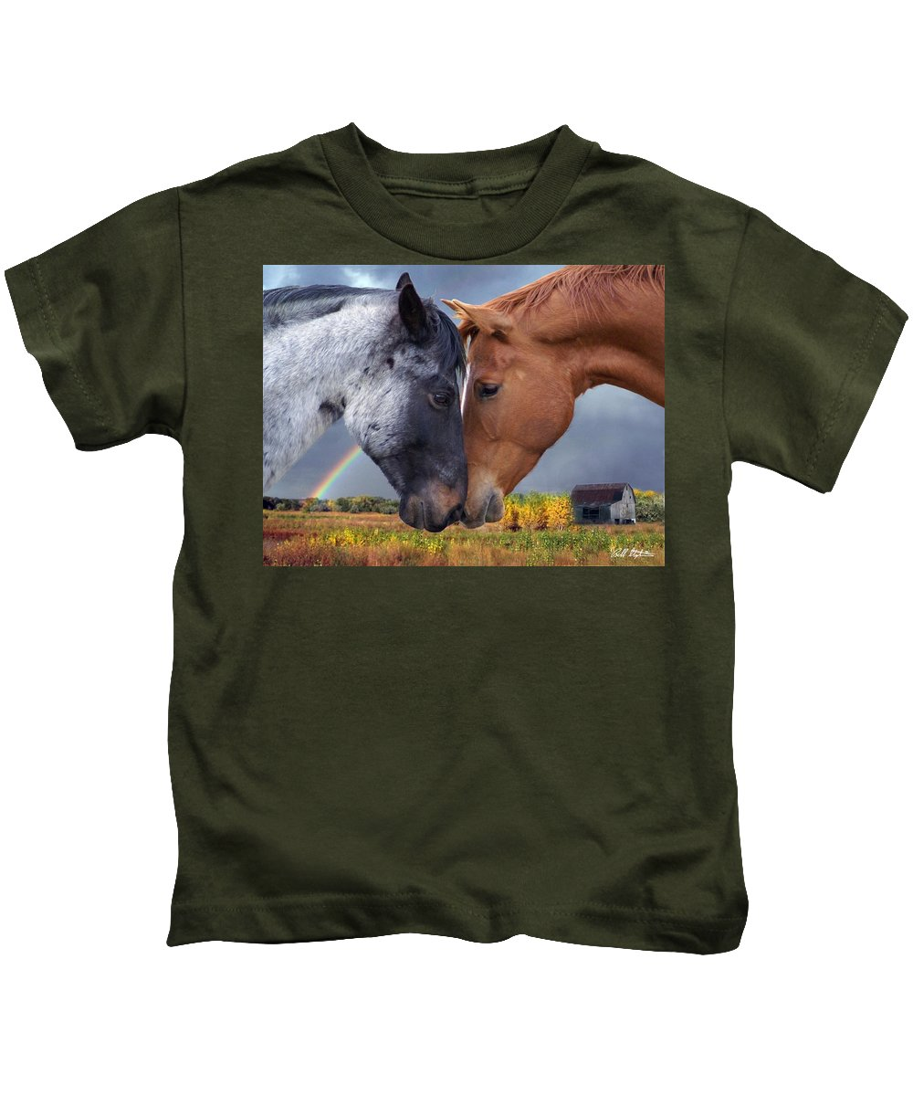 Horses Kids T-Shirt featuring the mixed media Romance by Bill Stephens