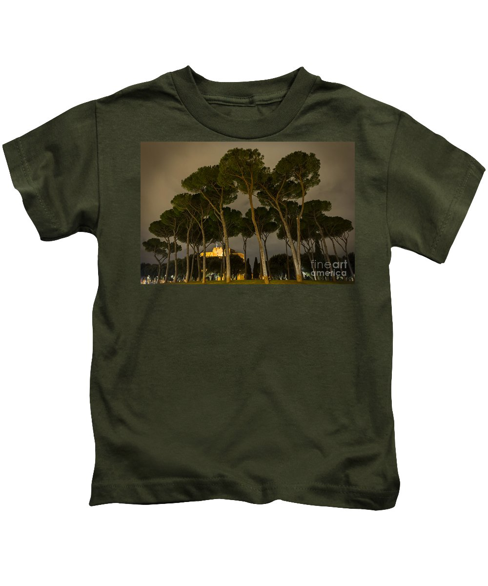 Tree Kids T-Shirt featuring the photograph Rome - On The Road by Valerio Poccobelli