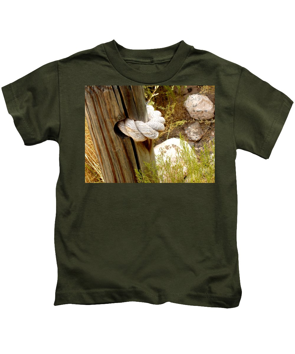 Rope Kids T-Shirt featuring the photograph Rope In A Post by Wayne Potrafka