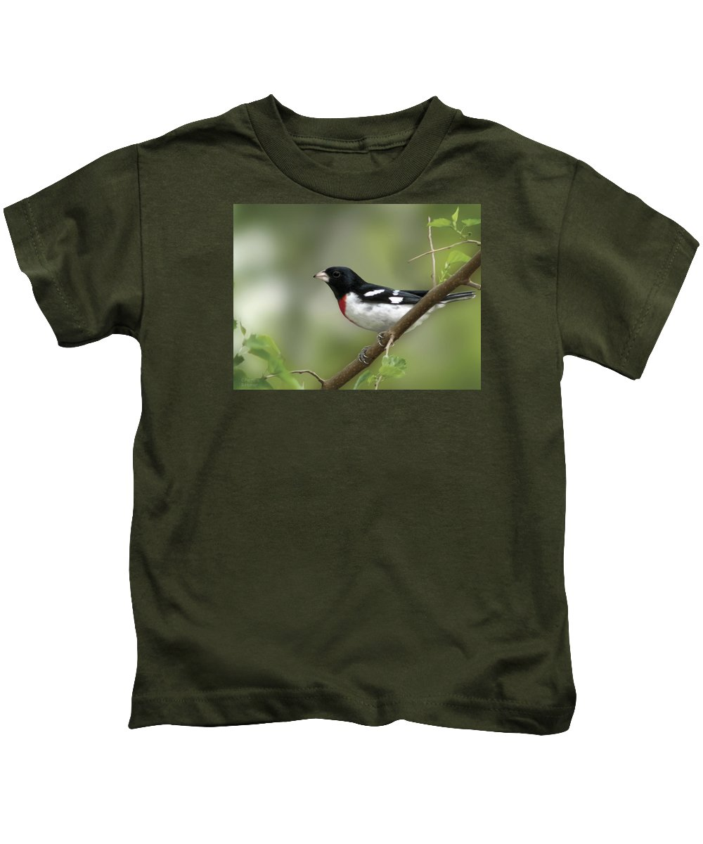 Nature Kids T-Shirt featuring the digital art Rose Breasted Grosbeak by Barbara Hymer