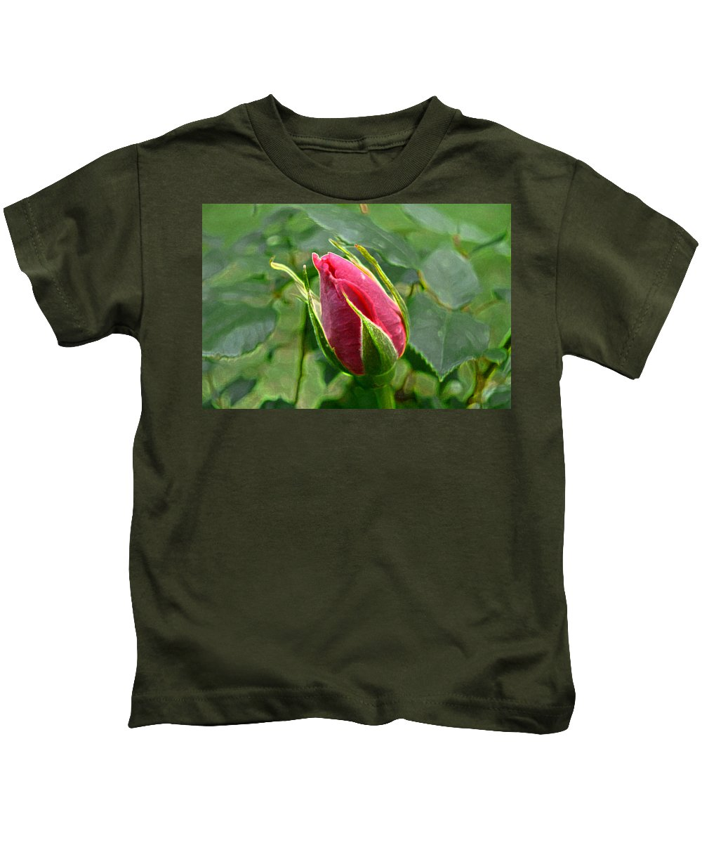 New England Photos Kids T-Shirt featuring the photograph Rose Bud by Nancie DeMellia