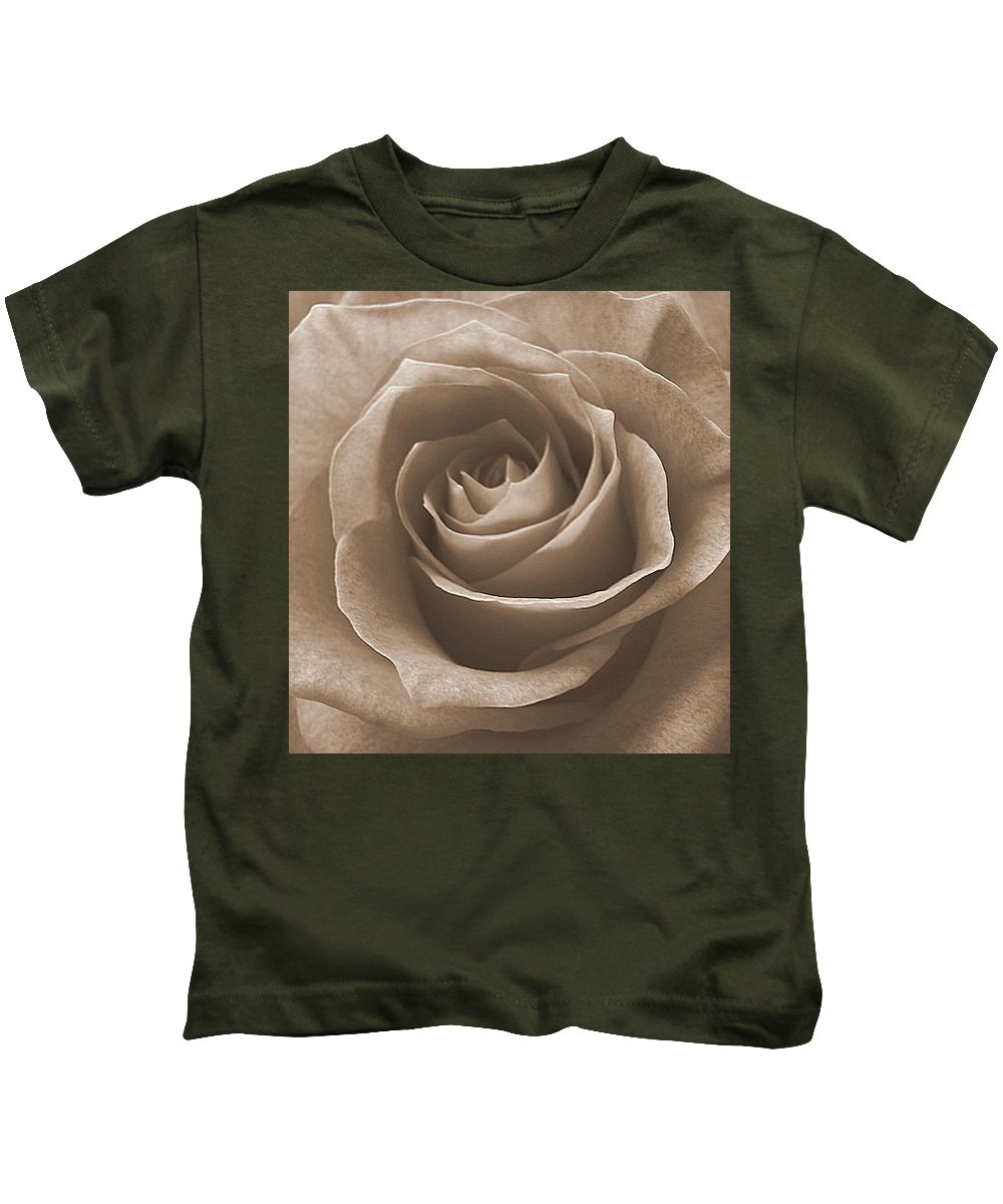 Rose Sepia Pedals Kids T-Shirt featuring the photograph Rose In Sepia by Luciana Seymour