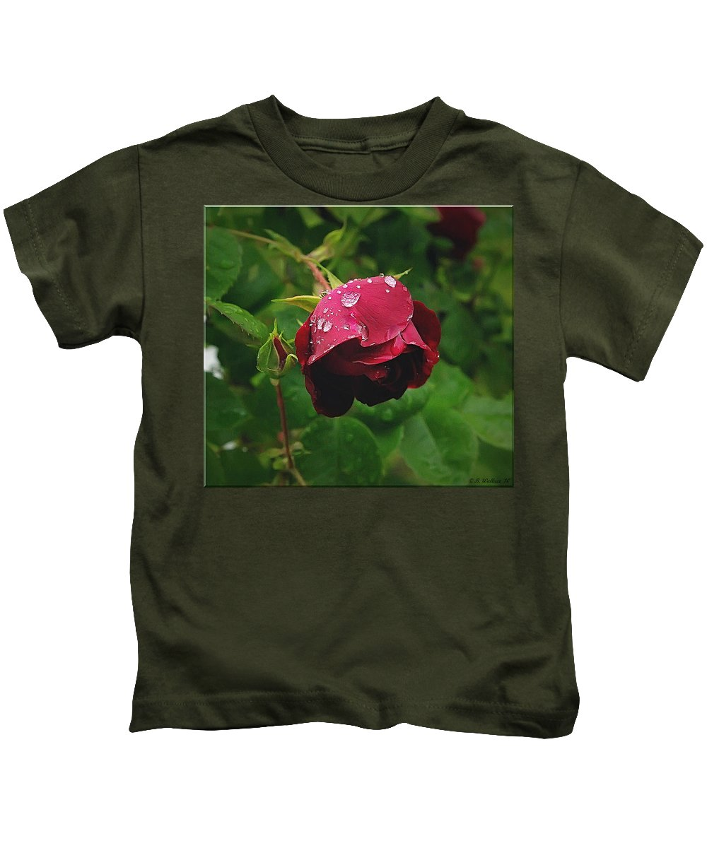 2d Kids T-Shirt featuring the photograph Rose On The Vine by Brian Wallace