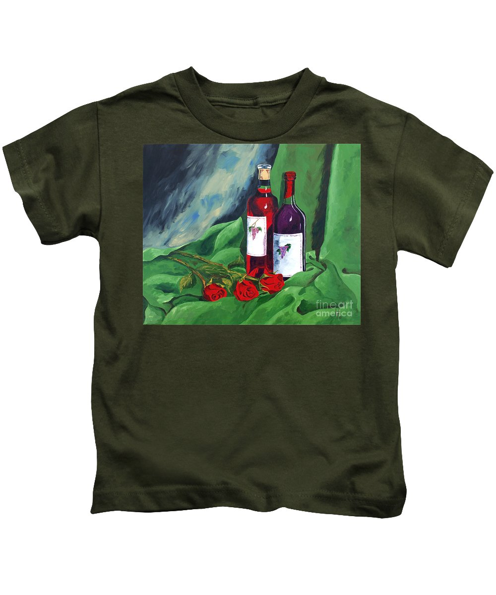 Wine And Roses Red Roses Red Wine Still Life Kids T-Shirt featuring the painting Roses And Wine by Herschel Fall