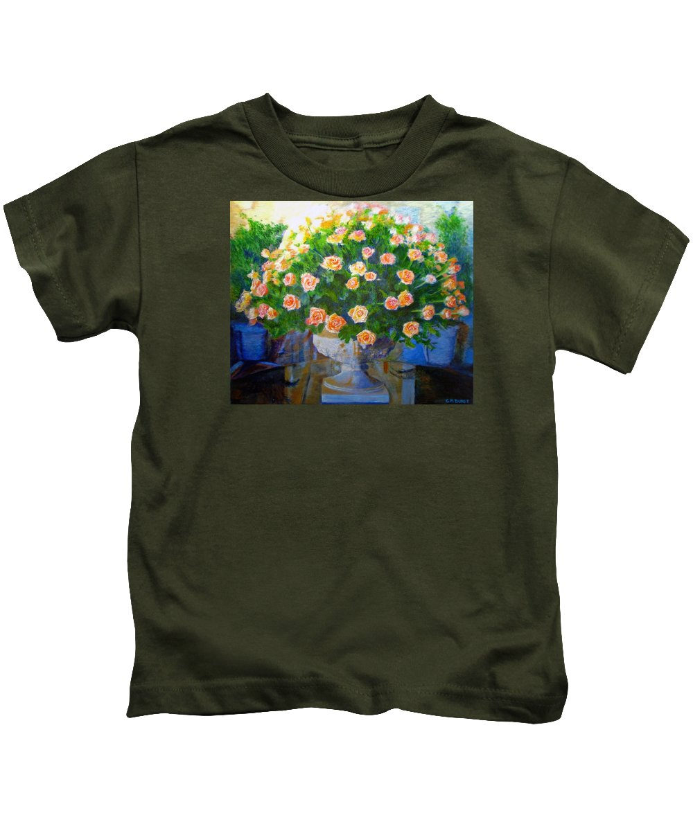 Rose Kids T-Shirt featuring the painting Roses At Table Bay by Michael Durst