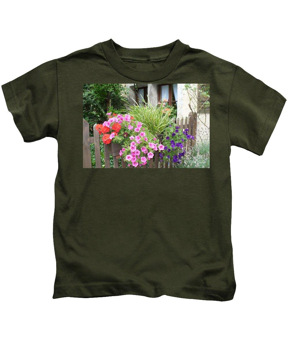 Garden Kids T-Shirt featuring the photograph Rothenburg Flower Box by Carol Groenen