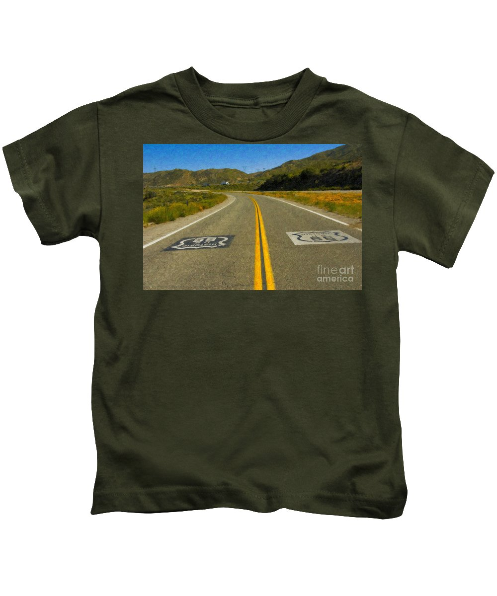 National Kids T-Shirt featuring the photograph Route 66 National Historic Road by David Zanzinger