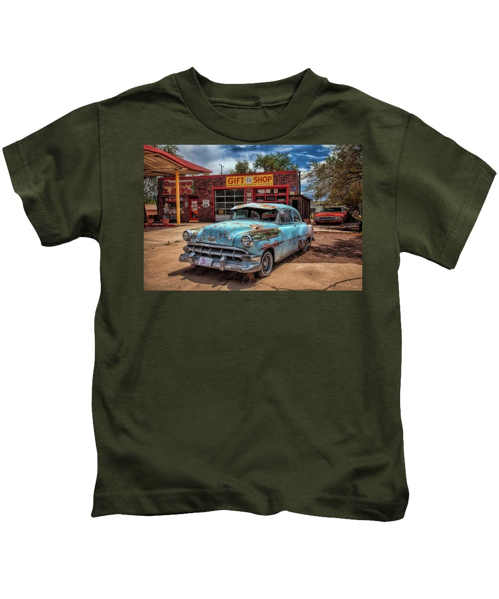 66 Kids T-Shirt featuring the photograph Route 66 Seligman by Diana Powell