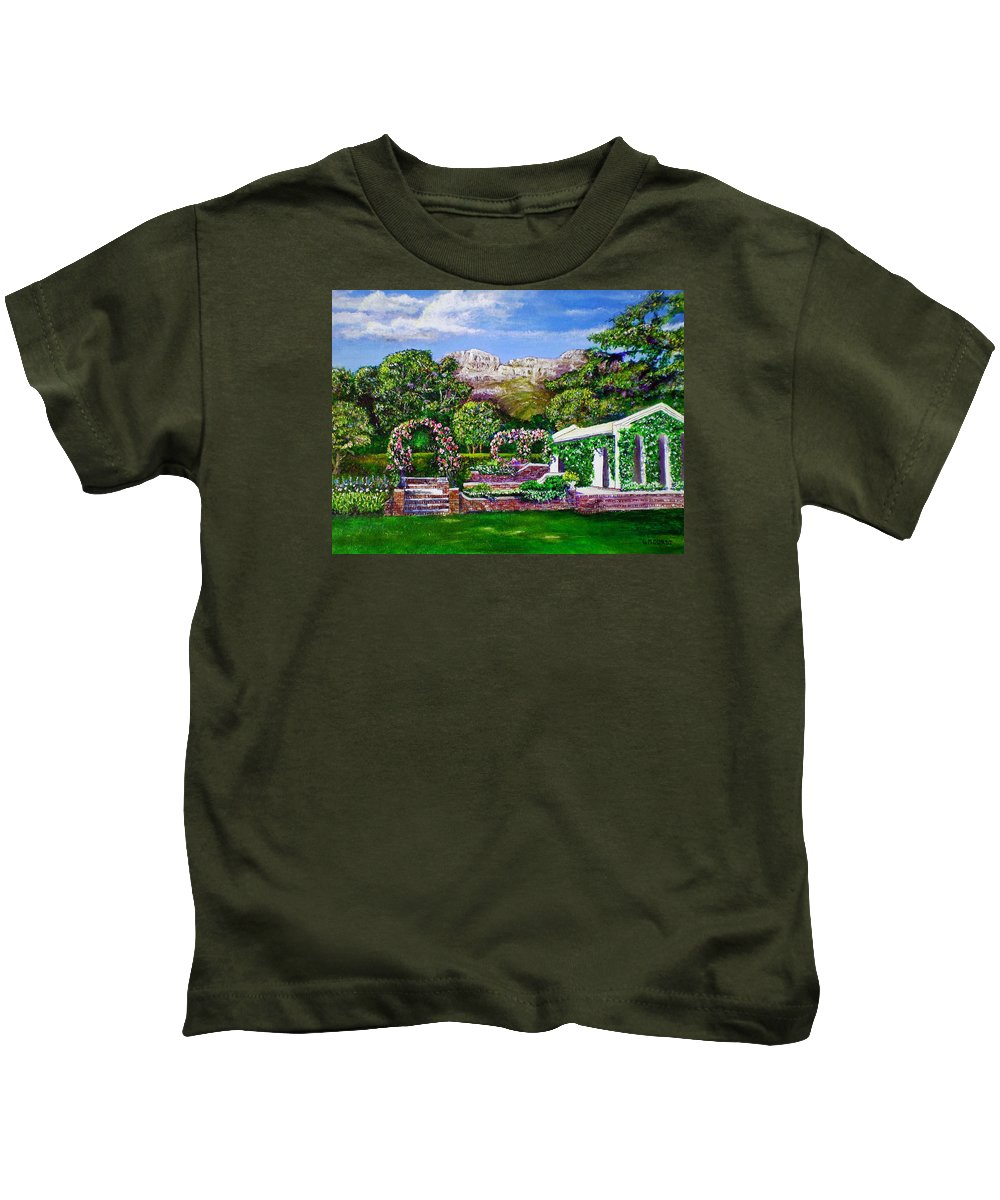 Landscape Kids T-Shirt featuring the painting Rozannes Garden by Michael Durst