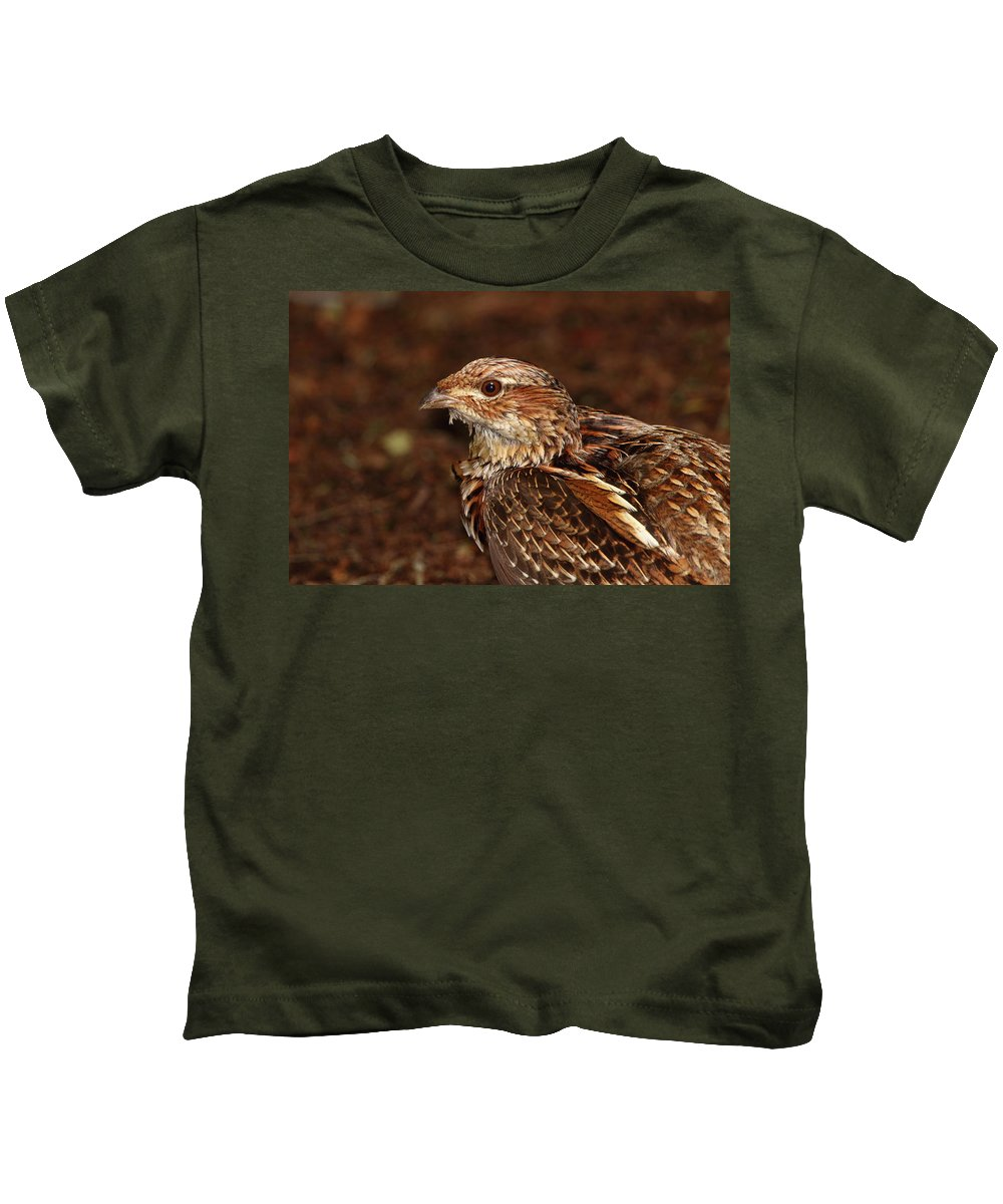 Grouse Kids T-Shirt featuring the photograph Ruffed Grouse by Bruce J Robinson