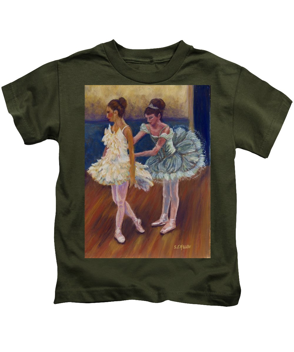 Ballerina Kids T-Shirt featuring the painting Ruffled Feathers by Sharon E Allen