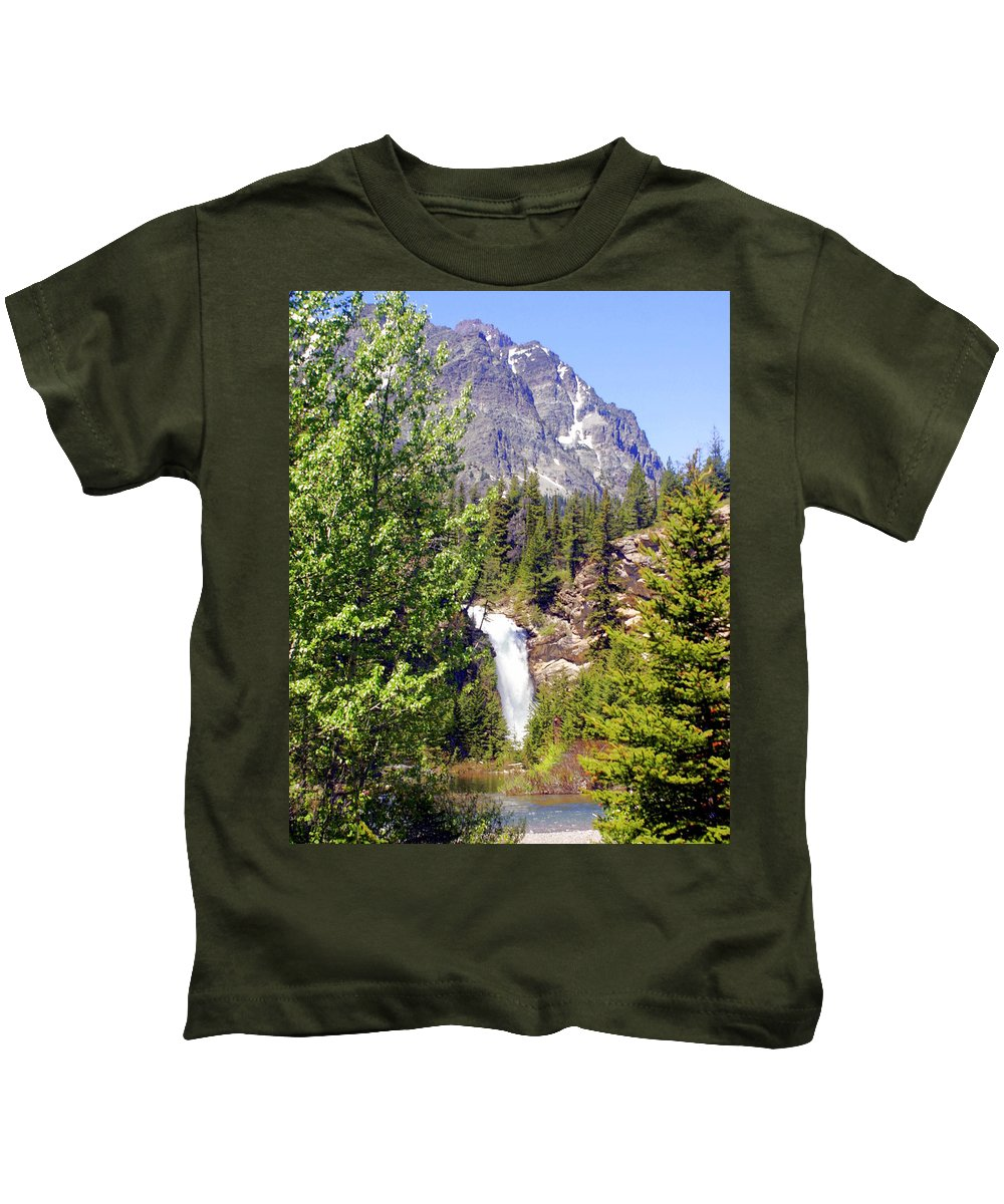 Waterfalls Kids T-Shirt featuring the photograph Running Eagle Falls Glacier National Park by Marty Koch