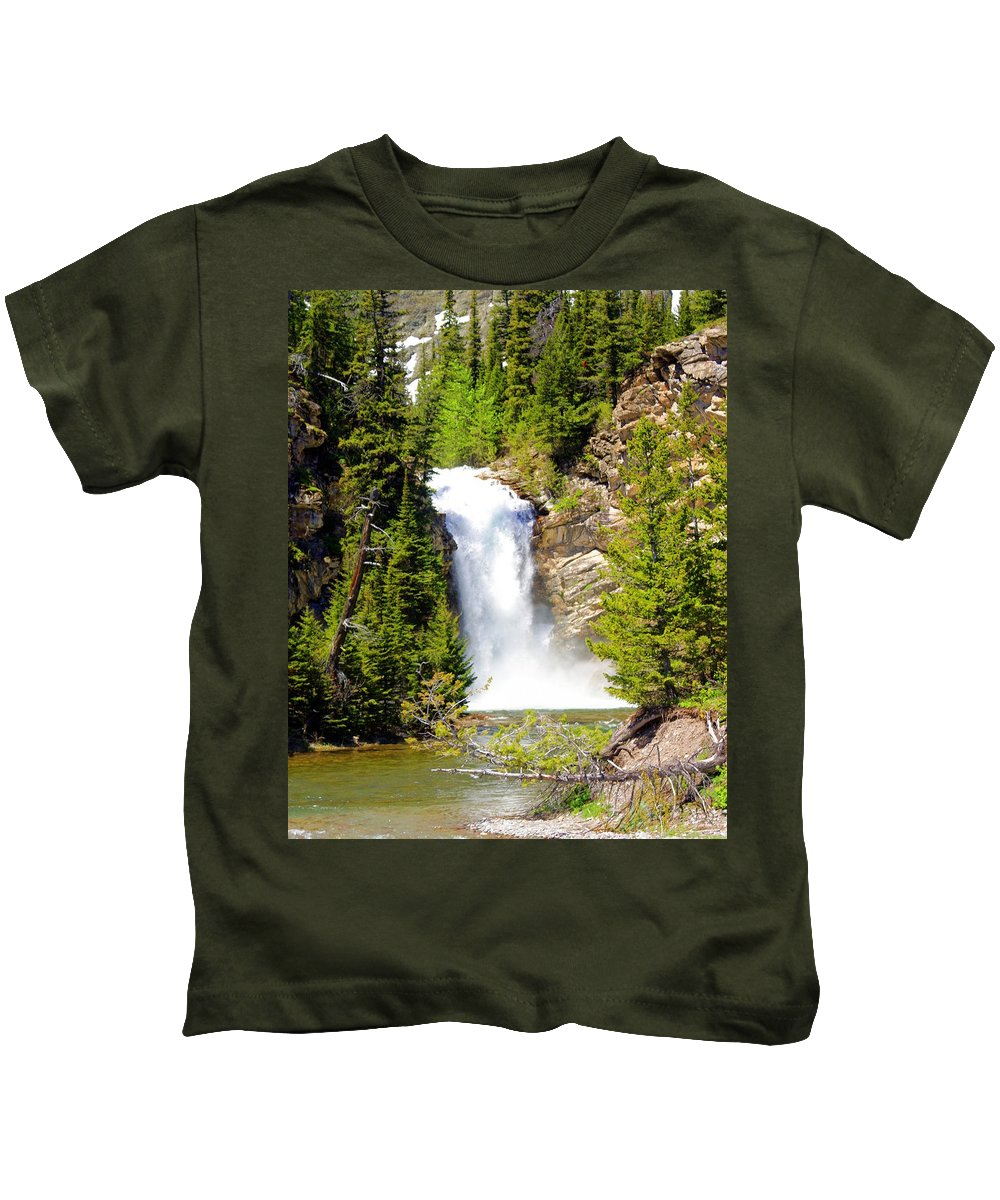 Waterfalls Kids T-Shirt featuring the photograph Running Eagle Falls by Marty Koch