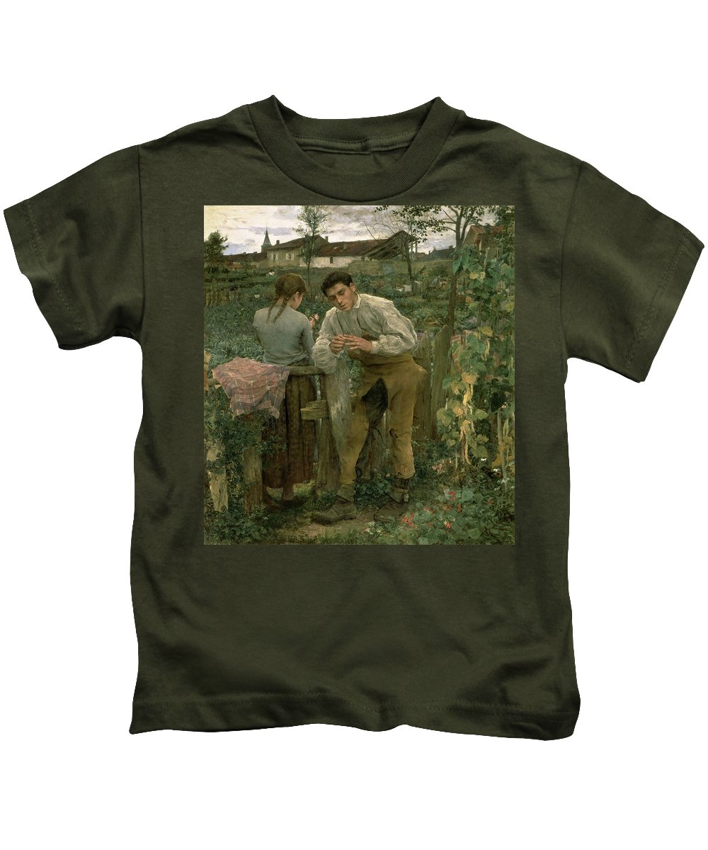 Valentine's Day Kids T-Shirt featuring the painting Rural Love by Jules Bastien Lepage