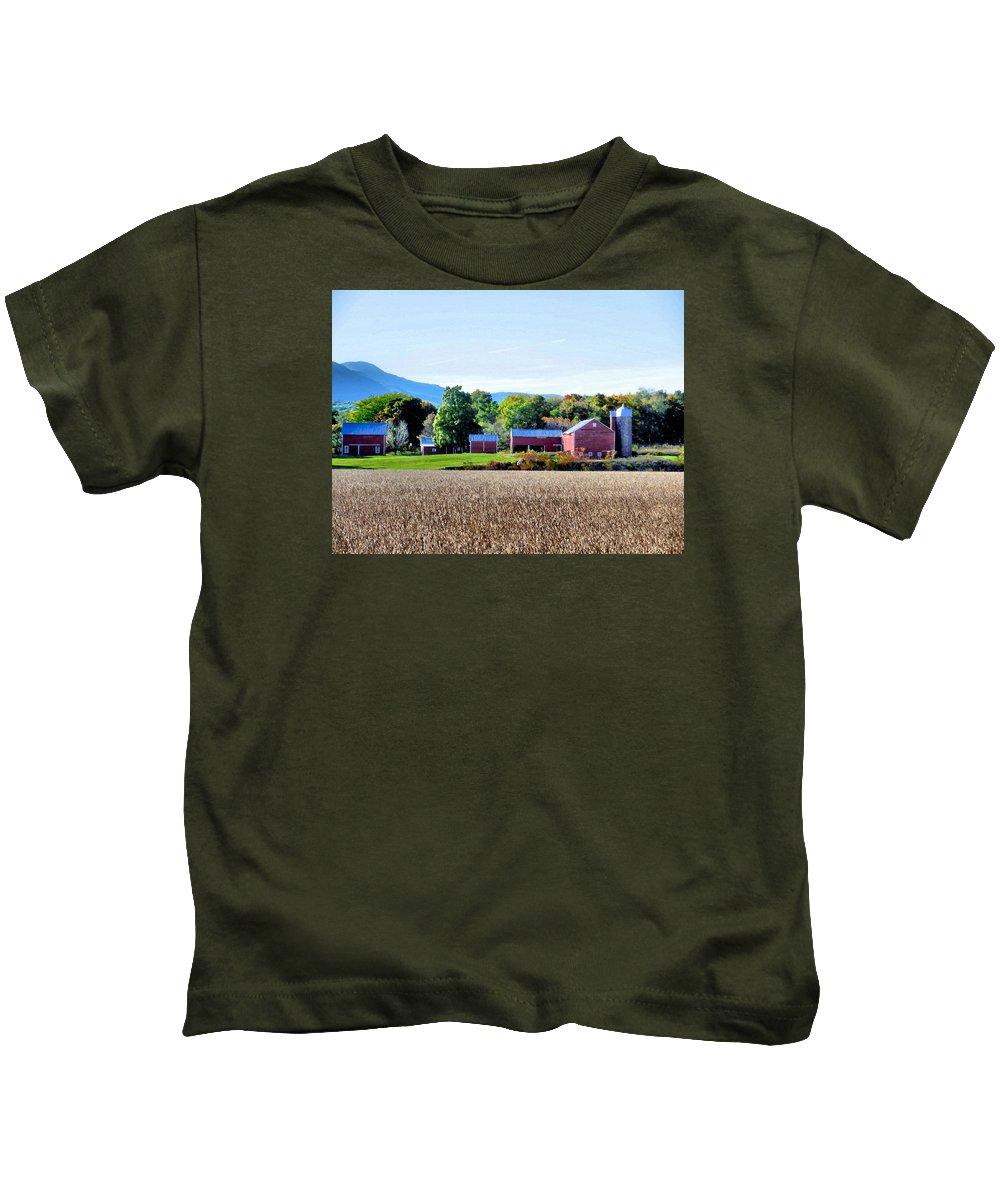 Rural Scene Kids T-Shirt featuring the painting Rural Scene by Jeelan Clark