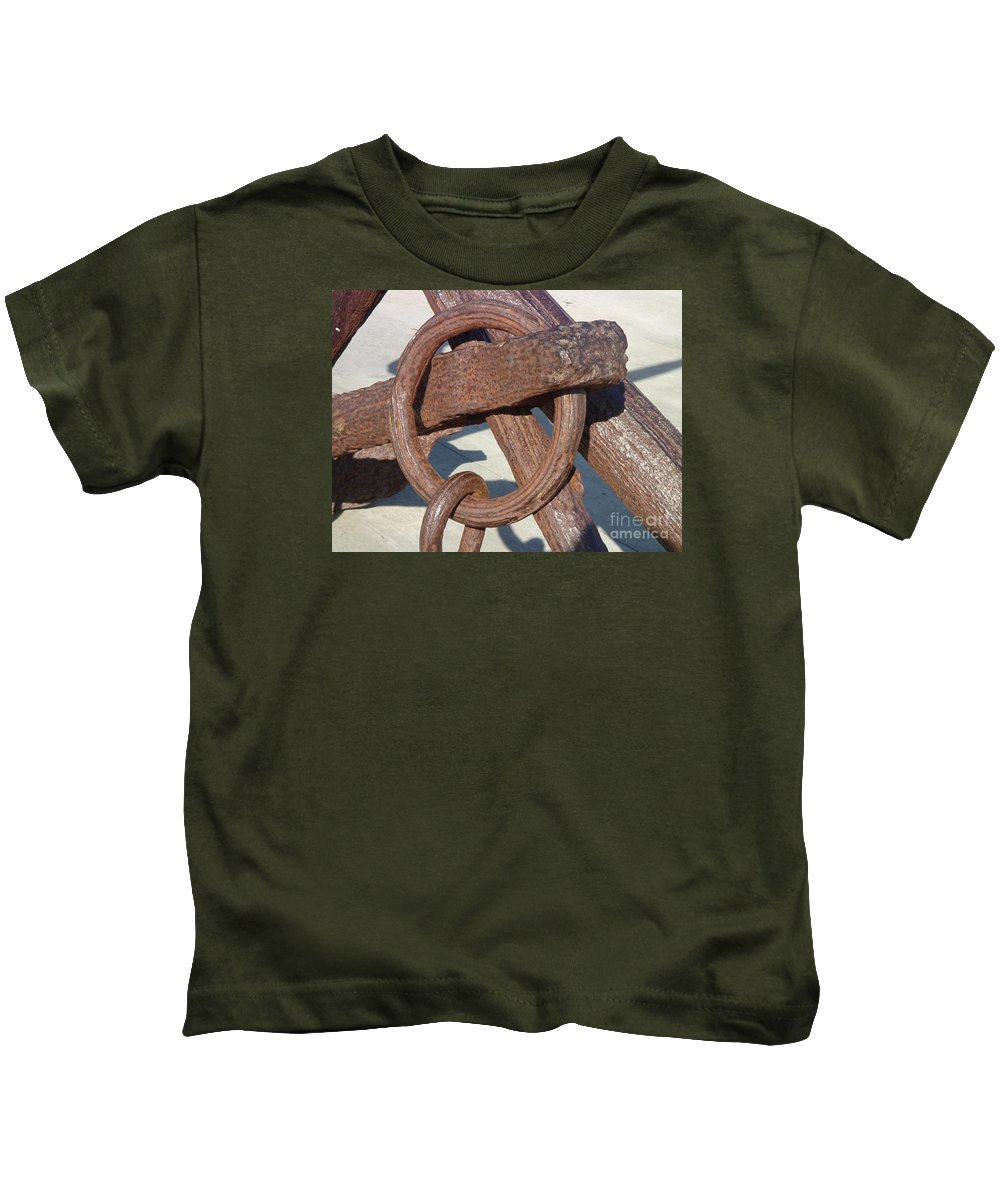 Nautical Kids T-Shirt featuring the photograph Rusty Anchor Chain by Cassandra Geernaert