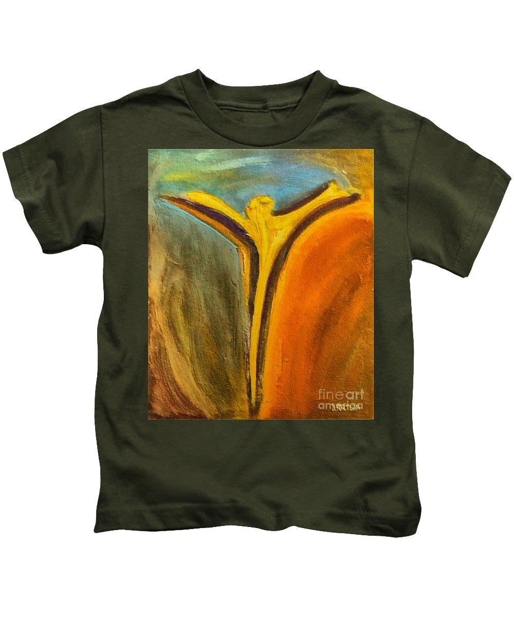 Cross Art Kids T-Shirt featuring the mixed media Sacrificed by Dragica Micki Fortuna