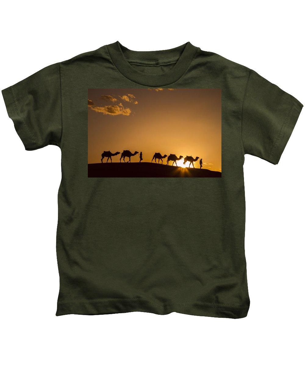 Camels Kids T-Shirt featuring the photograph Sahara Desert Sunset by Lindley Johnson
