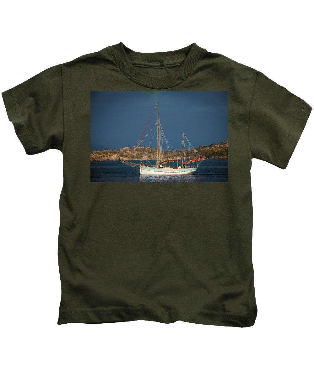 Scotland Kids T-Shirt featuring the photograph Sailboat In Iona Bay by Laurence Ventress