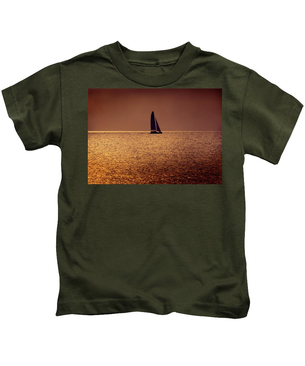 Boat Kids T-Shirt featuring the photograph Sailing by Steven Sparks