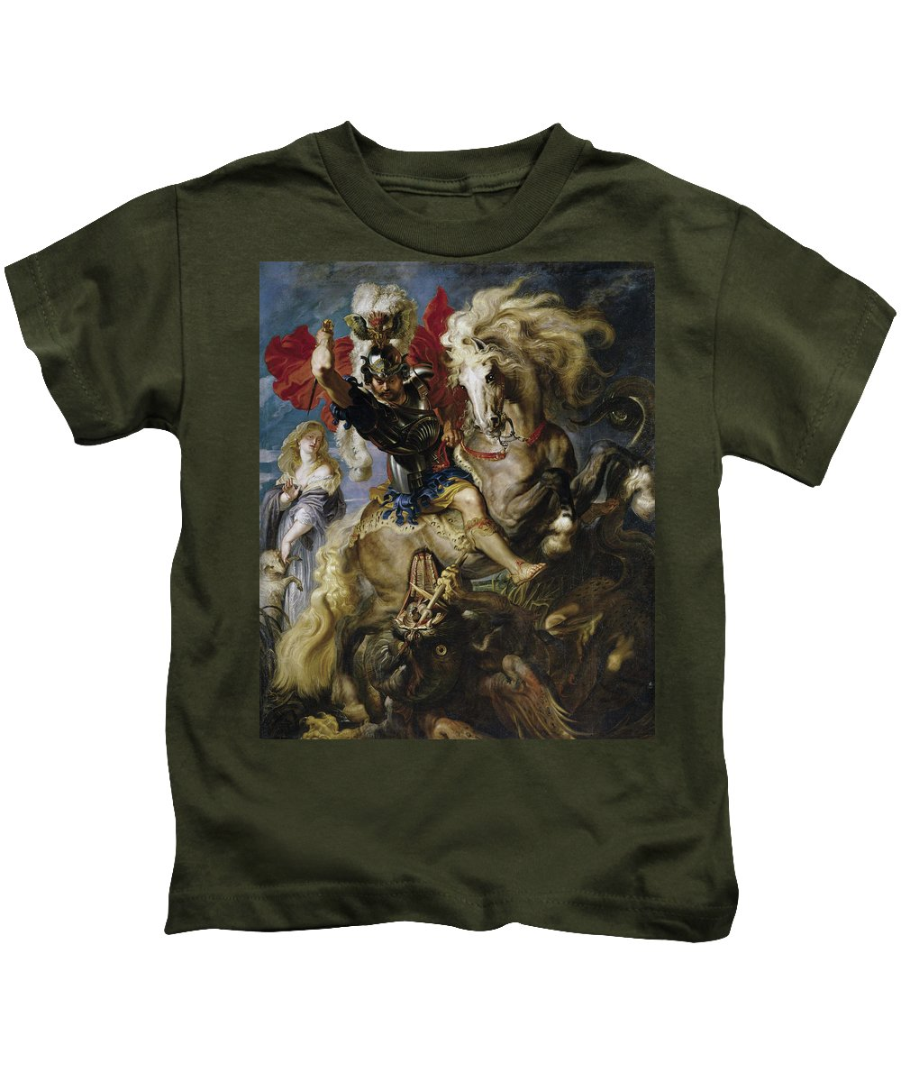 Armor Kids T-Shirt featuring the painting Saint George Battles The Dragon by Peter Paul Rubens