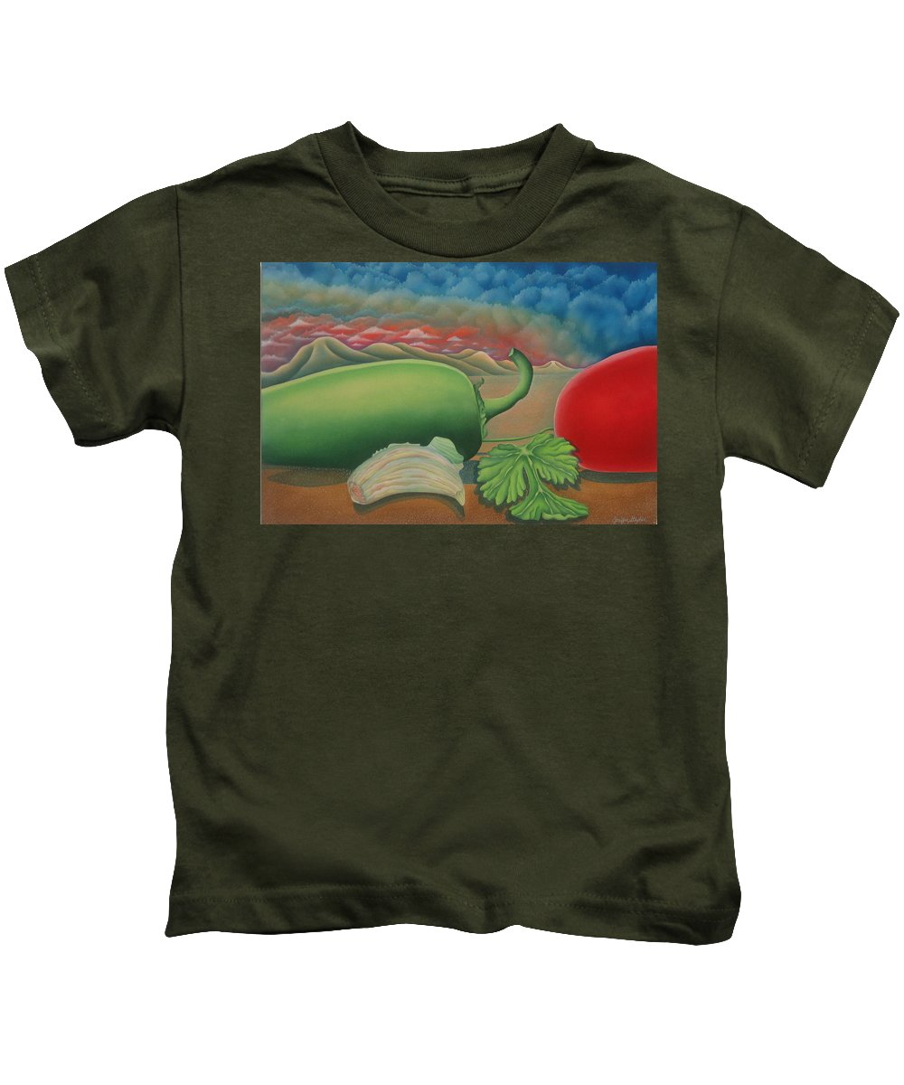 Vegetables Kids T-Shirt featuring the painting Salsa Across Texas by Jeniffer Stapher-Thomas