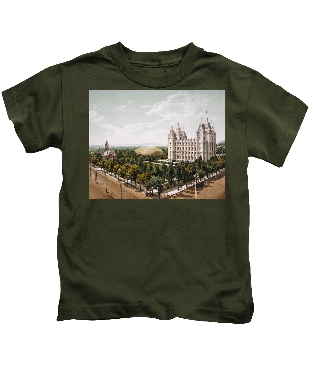 Temple-square-church-salt-lake-city Kids T-Shirt featuring the painting Salt Lake City by MotionAge Designs