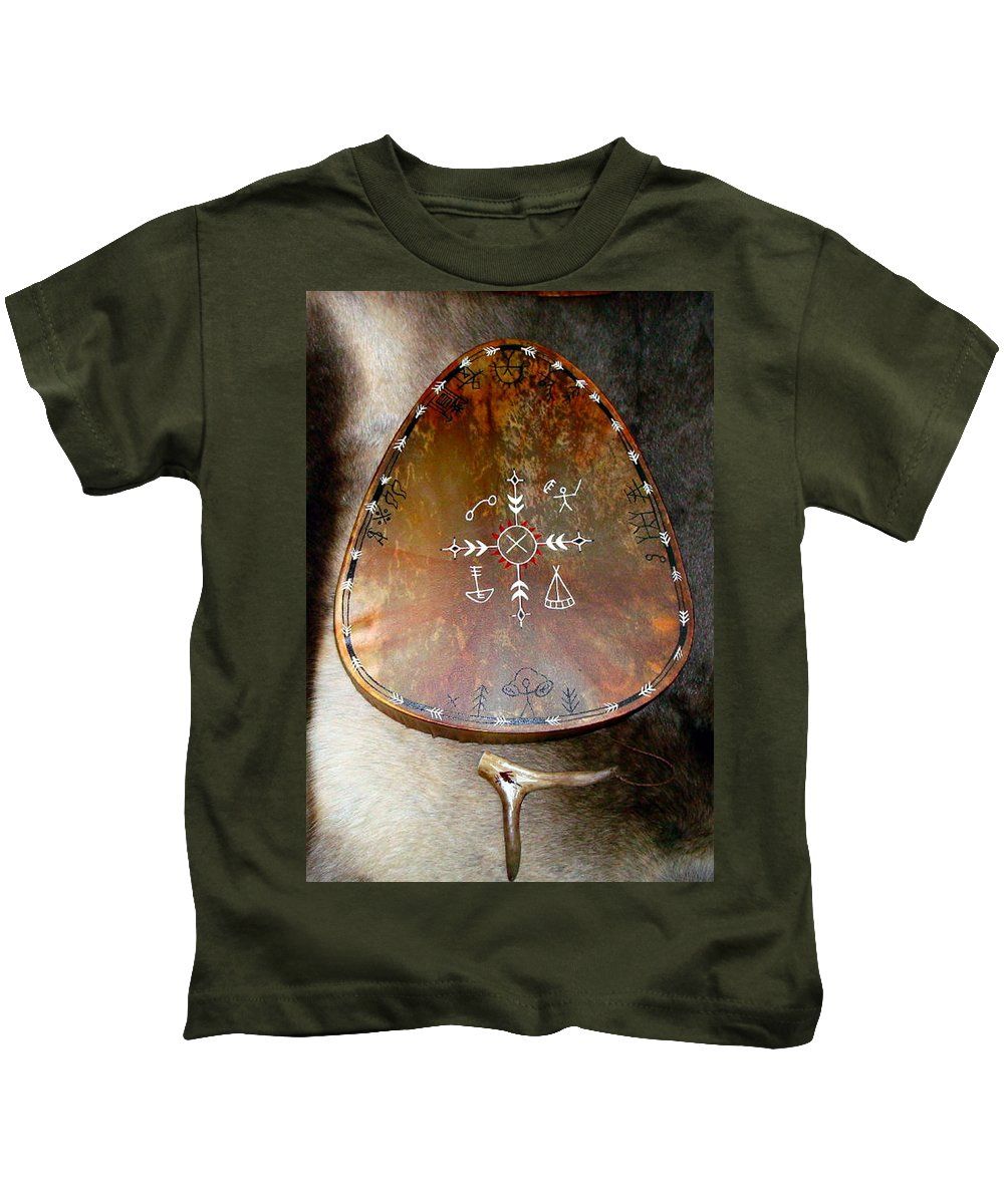 Saami Kids T-Shirt featuring the photograph Sami Shaman Drum by Merja Waters