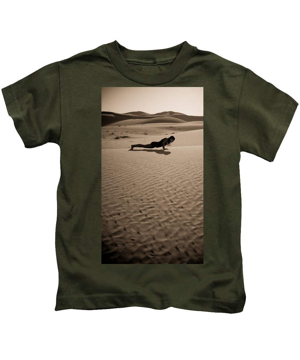 Yoga Kids T-Shirt featuring the photograph Sand Plank by Scott Sawyer