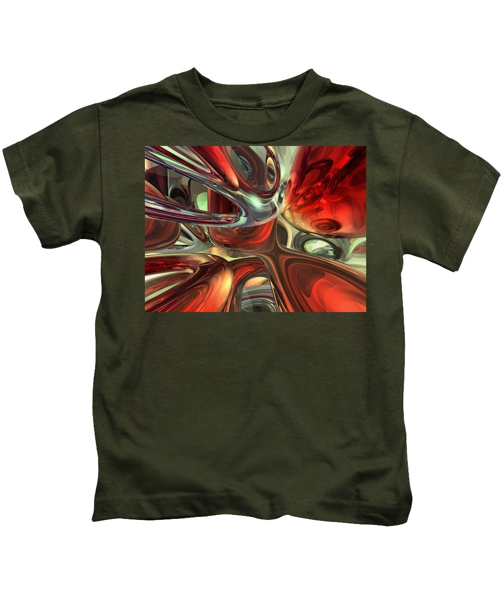 3d Kids T-Shirt featuring the digital art Sanguine Abstract by Alexander Butler