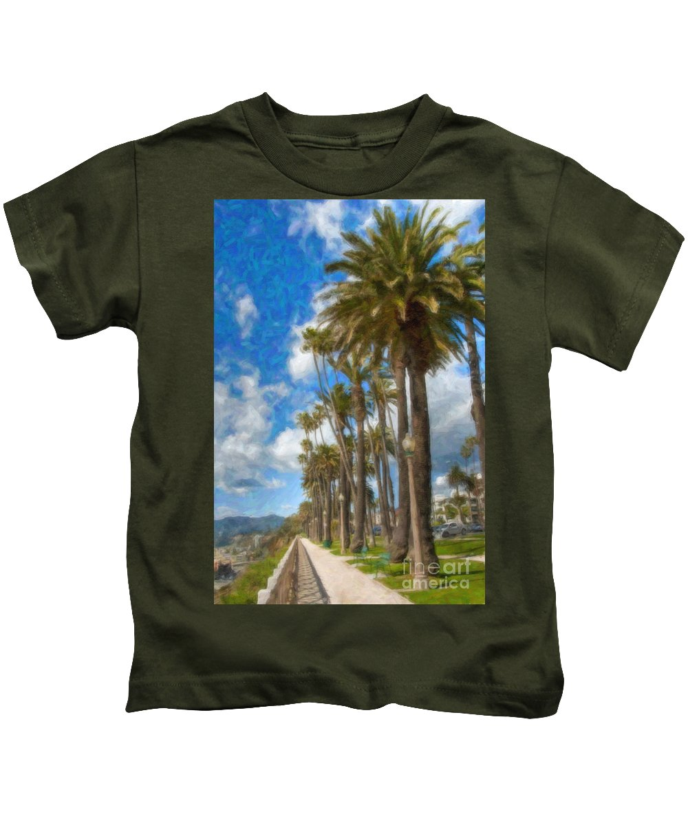 Santa Monica Ca Palisades Park Bluffs Kids T-Shirt featuring the photograph Santa Monica Ca Palisades Park Bluffs by David Zanzinger