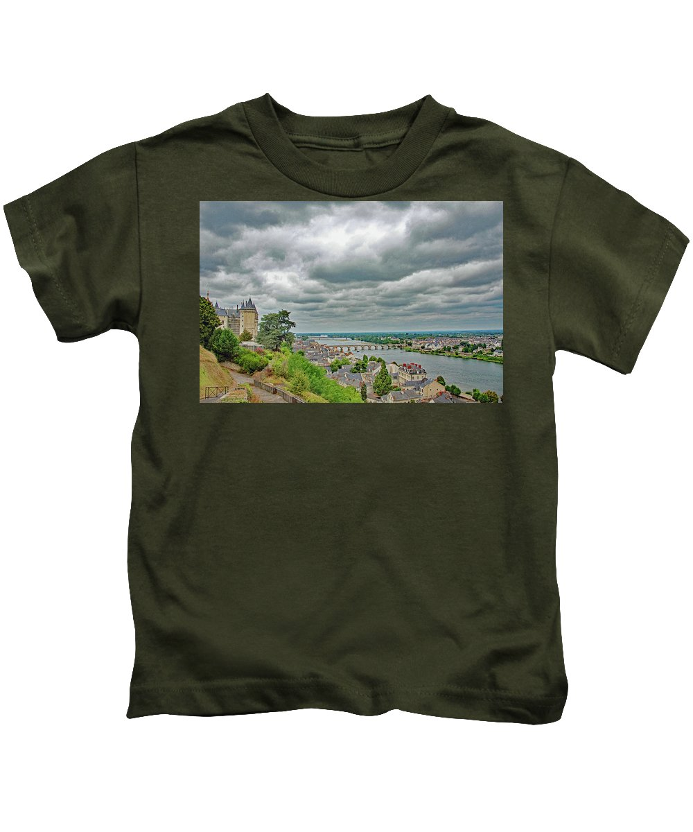 Saumur Kids T-Shirt featuring the photograph Saumur, Chateau, Loire, France by Curt Rush