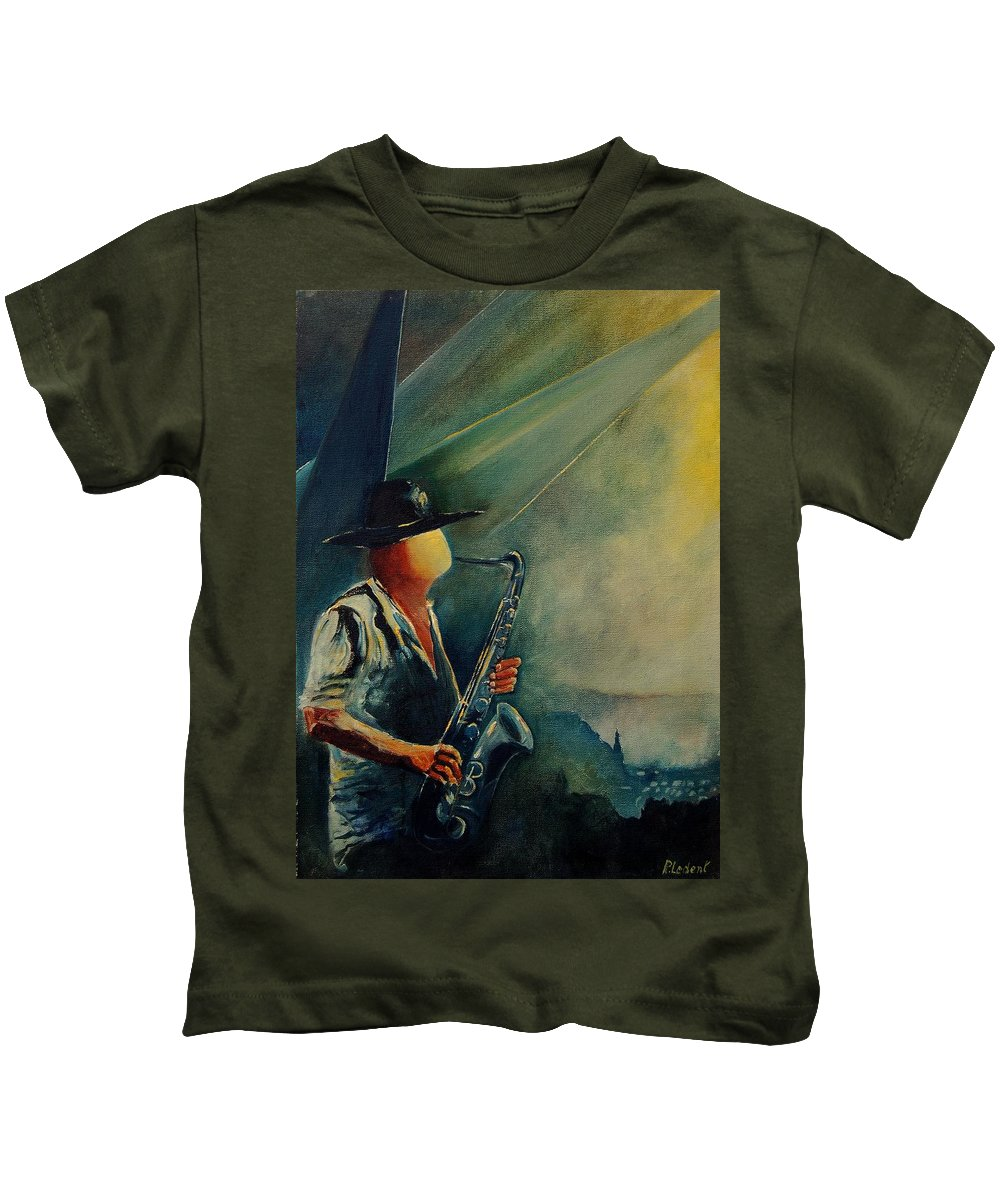 Music Kids T-Shirt featuring the painting Sax Player by Pol Ledent