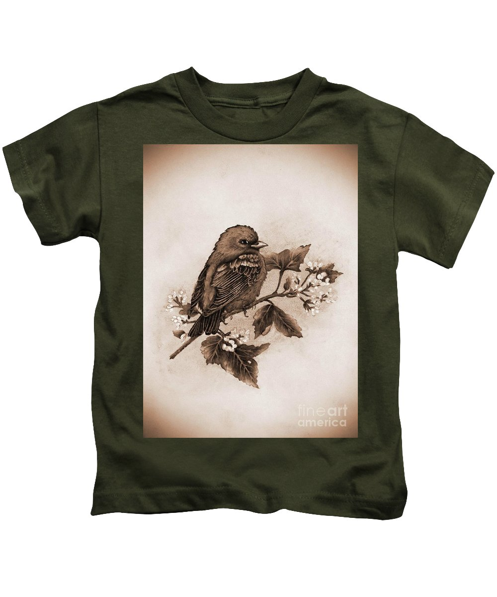 Scarlet Tanager Kids T-Shirt featuring the photograph Scarlet Tanager - Tint by Cindy Treger