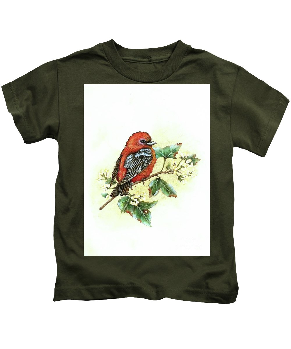 Scarlet Tanager Kids T-Shirt featuring the photograph Scarlet Tanager - Summer Season by Cindy Treger