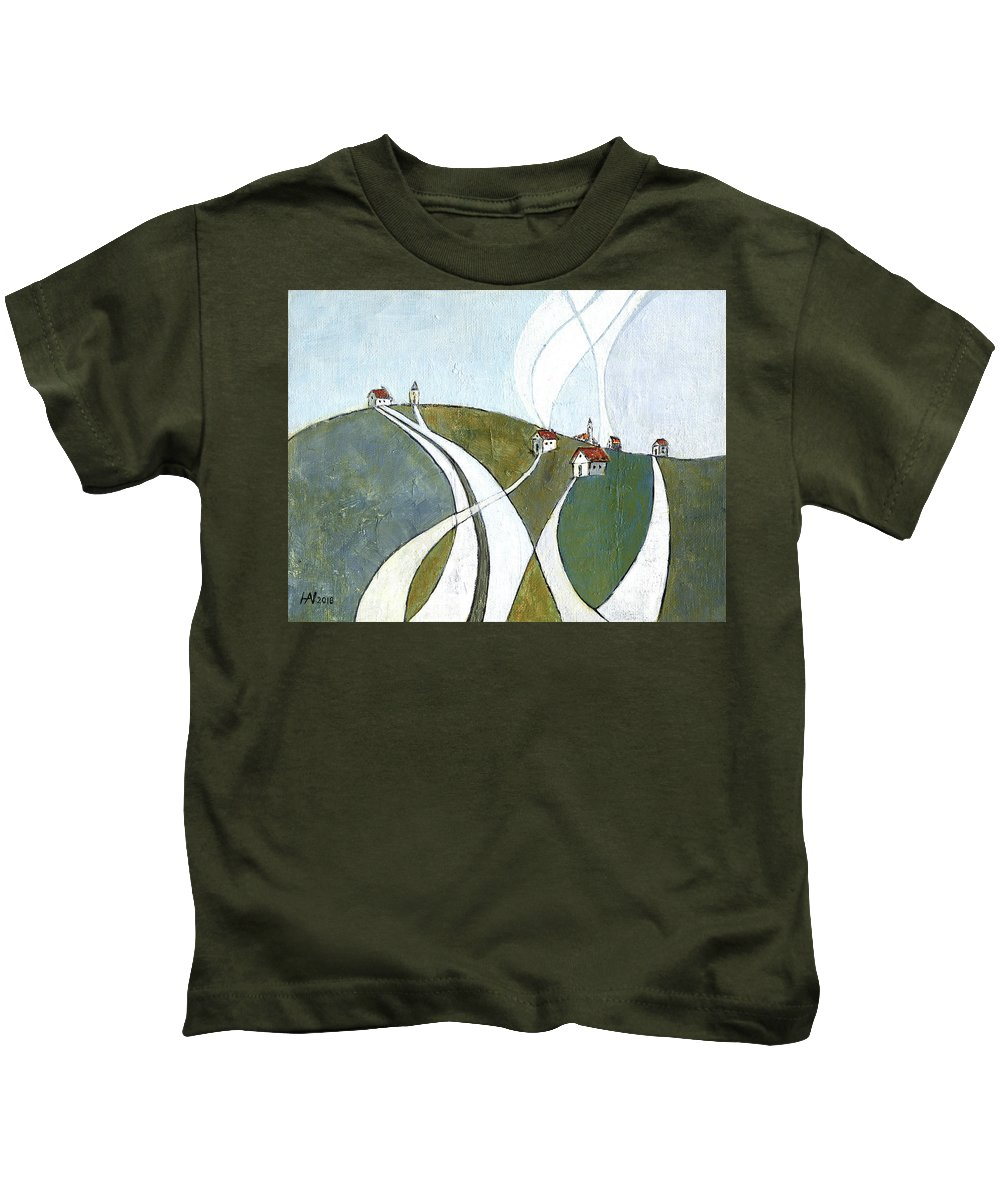 Painting Kids T-Shirt featuring the painting Scattered Houses by Aniko Hencz