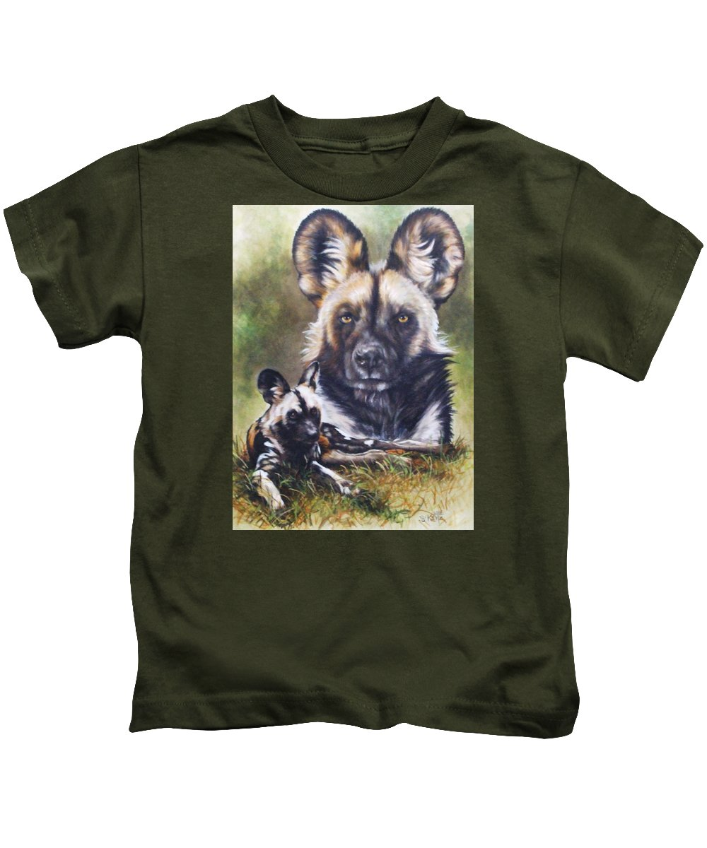Wild Dogs Kids T-Shirt featuring the mixed media Scoundrel by Barbara Keith