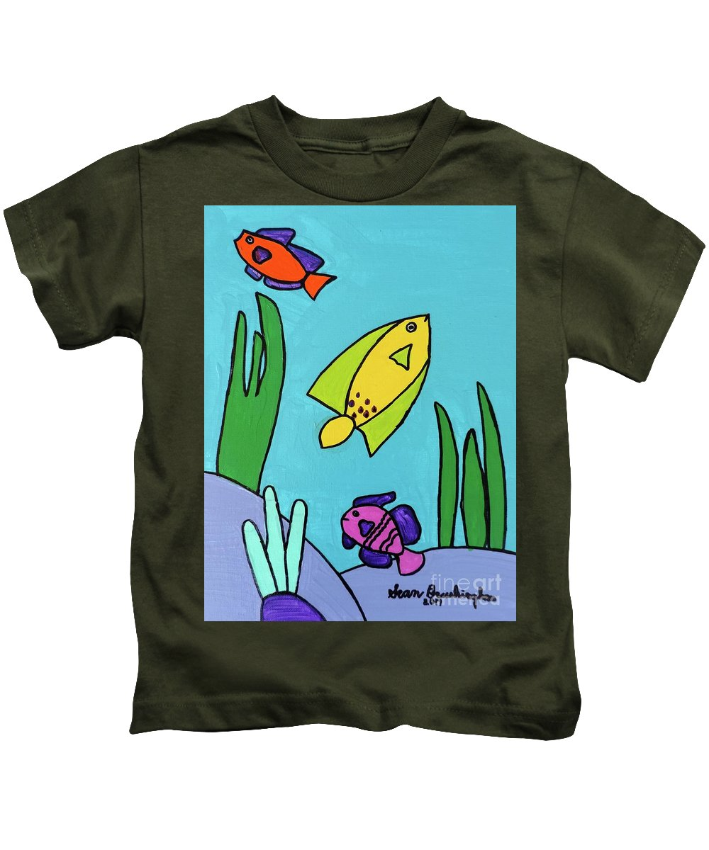 Fish Kids T-Shirt featuring the painting Sea Frolic by Sean Brushingham