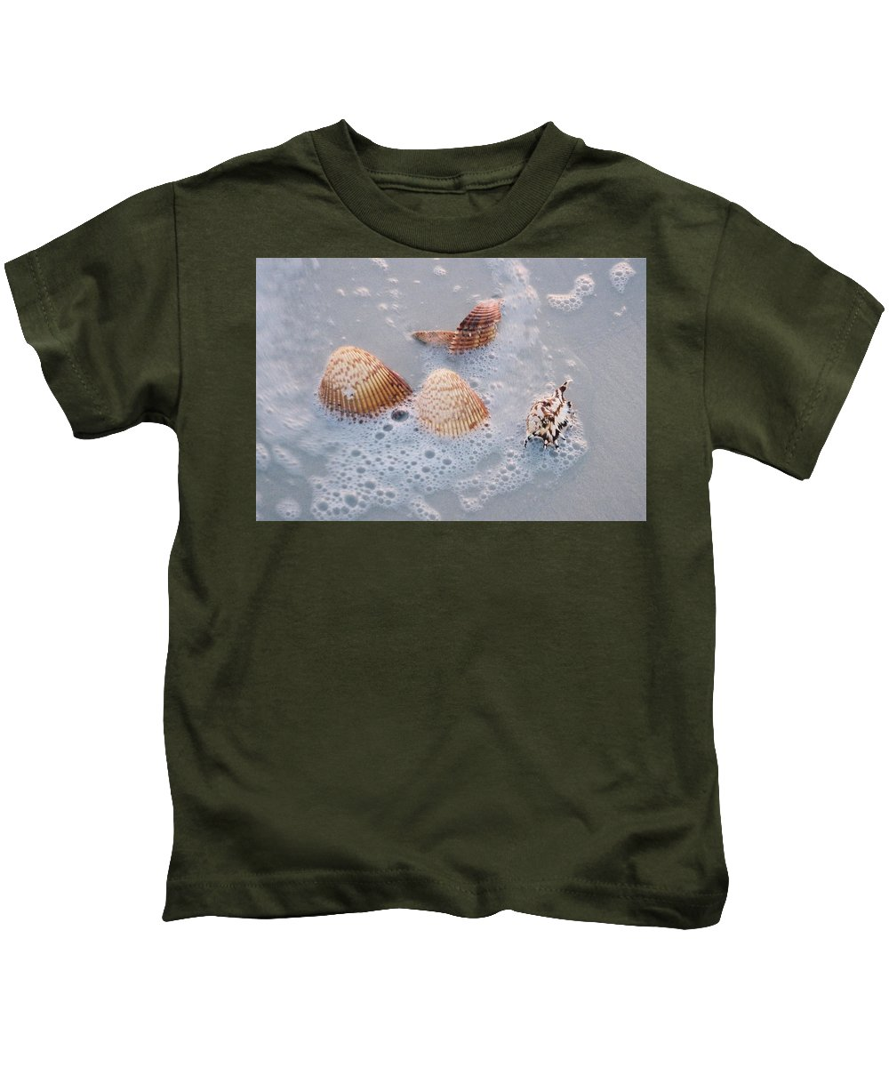 Sea Kids T-Shirt featuring the photograph Sea Shells In An Ocean Wave by Holly Eads